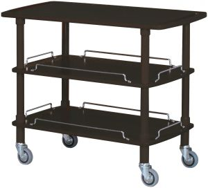 CLP 2003N Black Wodden service trolley 3 shelves 110x55x89h