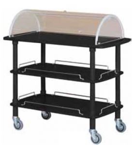 CLC 2013N Wodden service trolley black lacquered 3 shelves plexiglas dome