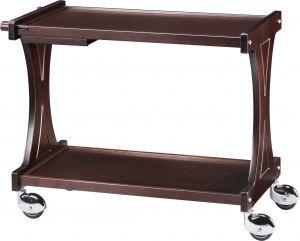 CL2000W Carrello servizio legno Wengé 2 piani 86x55x85h