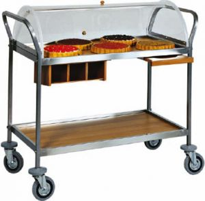 CA 1154 Trolley with plexiglas dome 2 shelves 110x57x110h