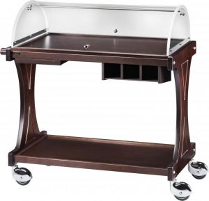 CL 2260W Wooden service trolley 2 shelves plx dome Wengé 106x55x110h