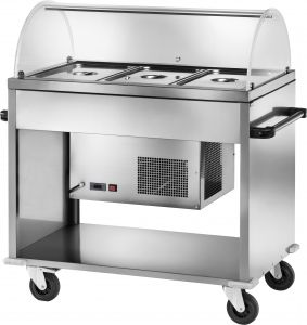 CAR2780BT Chariot refrigere inox -5° +5°C 3 GN1/1 dome plx