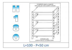 IN-18G46910050B Étagère avec 4 étagères lisses fixation par crochet dim cm 100x50x180h