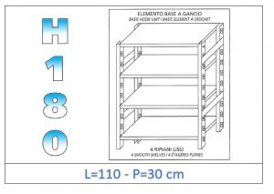 IN-18G46911030B Étagère avec 4 étagères lisses fixation par crochet dim cm 110x30x180h