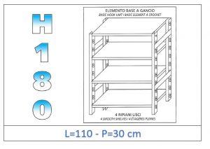 IN-18G46911030B Scaffale a 4 ripiani lisci fissaggio a gancio dim cm 110x30x180h
