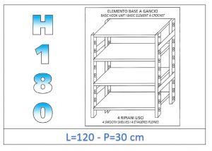 IN-18G46912030B Étagère avec 4 étagères lisses fixation par crochet dim cm 120x30x180h