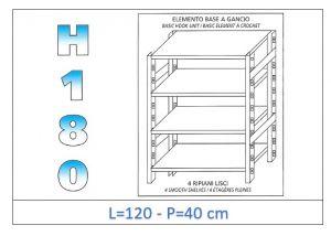 IN-18G46912040B Étagère avec 4 étagères lisses fixation par crochet dim cm 120x40x180h