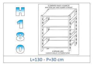 IN-18G46913030B Étagère avec 4 étagères lisses fixation par crochet dim cm 130x30x180h