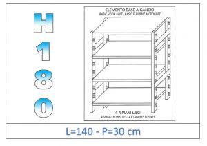 IN-18G46914030B Étagère avec 4 étagères lisses fixation par crochet dim cm 140 x30x180h