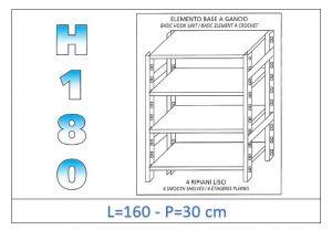 IN-18G46916030B Étagère avec 4 étagères lisses fixation par crochet dim cm 160x30x180h