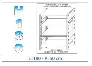 IN-18G46918050B Étagère avec 4 étagères lisses fixation par crochet dim cm 180x50x180h
