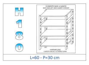 IN-18G4696030B Étagère avec 4 étagères lisses fixation par crochet dim cm 60x30x180h