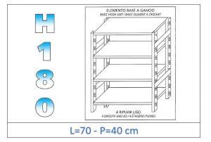 IN-18G4697040B Étagère avec 4 étagères lisses fixation par crochet dim cm 70x40x180h