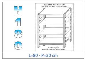 IN-18G4698030B Étagère avec 4 étagères lisses fixation par crochet dim cm 80x30x180h