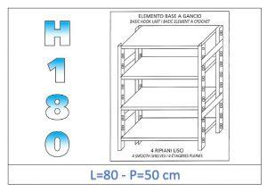 IN-18G4698050B Étagère avec 4 étagères lisses fixation par crochet dim cm 80x50x180h