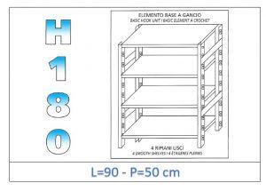 IN-18G4699050B Étagère avec 4 étagères lisses fixation par crochet dim cm 90x50x180h