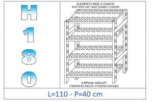 IN-18G47011040B Étagère avec 4 étagères à fentes crochet de fixation dim cm 110x40x180h