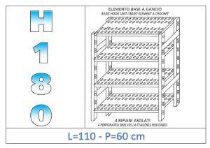IN-18G47011060B Étagère avec 4 étagères à fentes crochet de fixation dim cm 110x60x180h