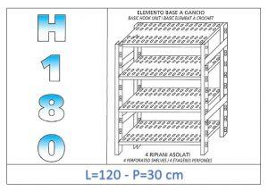 IN-18G47012030B Scaffale a 4 ripiani asolati fissaggio a gancio dim cm 120x30x180h