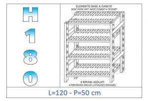 IN-18G47012050B Étagère avec 4 étagères à fentes fixation par crochet dim cm 120x50x180h