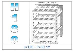 IN-18G47012060B Étagère avec 4 étagères à fentes crochet de fixation dim cm 120x60x180h