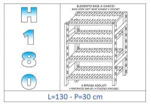 IN-18G47013030B Étagère avec 4 étagères à fentes fixation par crochet dim cm 130x30x180h