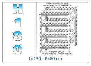 IN-18G47013060B Étagère avec 4 étagères à fentes crochet de fixation dim cm 130x60x180h