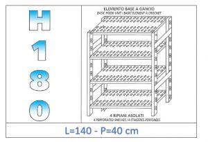 IN-18G47014040B Étagère avec 4 étagères à fentes fixation par crochet dim cm 140x40x180h