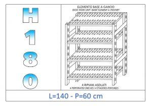 IN-18G47014060B Étagère avec 4 étagères à fentes fixation par crochet dim cm 140x60x180h