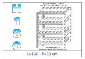 IN-18G47016030B Étagère avec 4 étagères à fentes crochet de fixation dim cm 160x30x180h