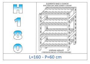 IN-18G47016060B Scaffale a 4 ripiani asolati fissaggio a gancio dim cm 160x60x180h
