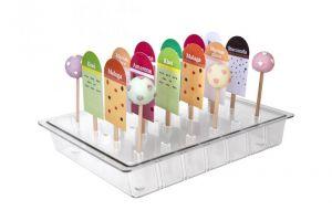 ITP805 Stick- Display verticale per porta stecchi e lollipop in policarbonato per vetrine gelato