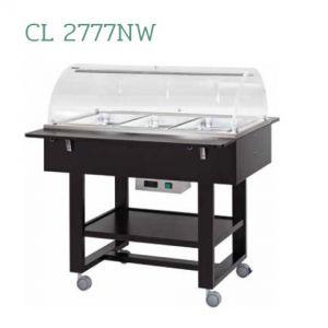 CL2777NW Présentoir chaud bain-marie (+30°+90°C) 3x1/1GN cloche et roues