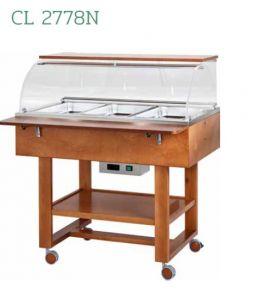 CL2778N Présentoir chaud bain-marie (+30°+90°C) 3x1/1GN cloche roues etagere