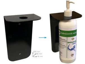 T779055 Soporte de pared de metal diseñado para dispensador de gel o spray desinfectante para manos