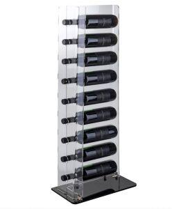 EV00608 TOWER 2 - Espositore vino da terra base nera per bottiglie foro 3,5 cm