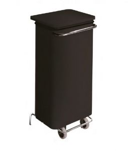 T791221 Mobile black steel container with pedal 110 liters