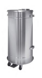 T792090 Movable container in AISI 304 stainless steel with pedal, watertight 90 liters
