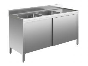 EU01611-20 lavatoio armadio ECO cm 200x60x85h  2 vasche e sg dx - porte scorrevoli