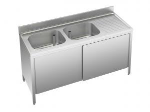 EU01711-18 lavatoio armadio ECO cm 180x70x85h  2 vasche e sg dx - porte scorrevoli