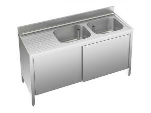 EU01712-18 lavatoio armadio ECO cm 180x70x85h  2 vasche e sg sx - porte scorrevoli
