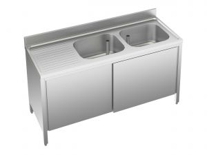 EU01712-19 lavatoio armadio ECO cm 190x70x85h  2 vasche e sg sx - porte scorrevoli