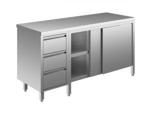 EU04002-18 tavolo armadio ECO cm 180x60x85h  piano liscio - porte scorr - cass 3c sx
