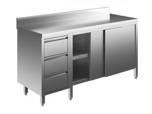EU04004-22 tavolo armadio ECO cm 220x60x85h  piano alzatina - porte scorr - cass 3c sx