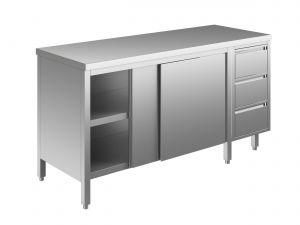 EU04101-16 tavolo armadio ECO cm 160x70x85h  piano liscio - porte scorr - cass 3c dx