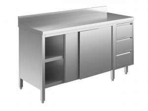 EU04103-21 tavolo armadio ECO cm 210x70x85h  piano alzatina - porte scorr - cass 3c dx