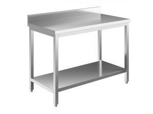 EUG2317-14 tavolo su gambe ECO cm 140x70x85h-piano con alzatina - ripiano inferiore