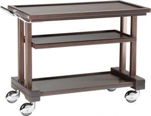 LP1050W Service trolley solid wood Wengé 3 floors 115x55x82h
