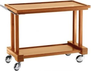 LP1000 Walnut stained solid wood service trolley 2 shelves 115x55x82h