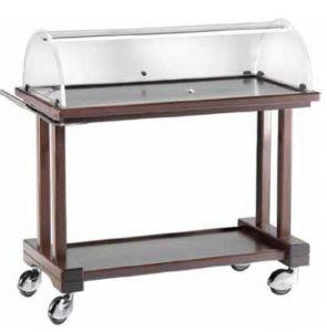 LPC 1000W Chariot service en bois Wengé pour dessert 2 rayons 115x55x108h